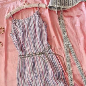 Vintage 50s Lavender Pink Striped Bow Wiggle Dress